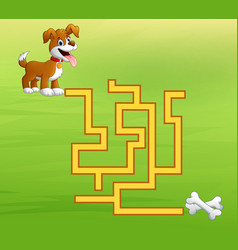 Game dog maze find way to the bones vector