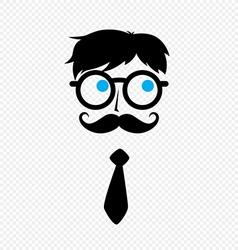 geek nerd guy with mustache vector image