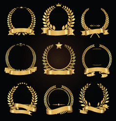 Golden laurel wreath with golden ribbon vector