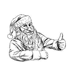 Hand sketch santa claus vector