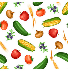 Harvest seamless pattern with fruits and vector