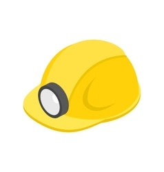 Helmet with flashlight 3d isometric icon vector image