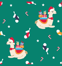 Holiday pattern with cute lamas and elements vector