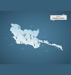 Isometric 3d myanmar burma map concept vector
