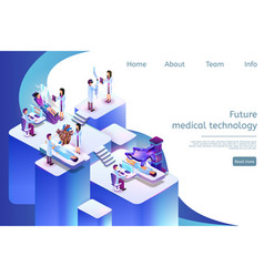 Isometric banner future medical technology in 3d vector