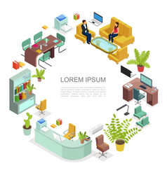 Isometric office workplace round concept vector