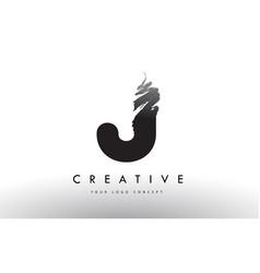 J brushed letter logo black brush letters design vector