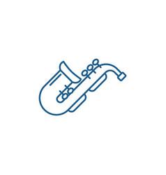 Jazz saxophone line icon concept jazz saxophone vector