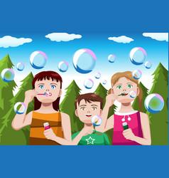 Kids blowing bubbles vector