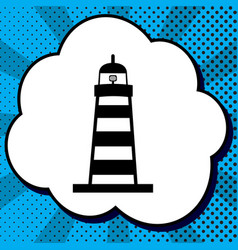 lighthouse sign black icon vector image