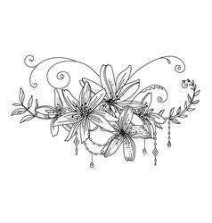 line art decorative lily composition vector image