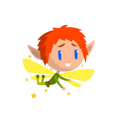 Little winged elf boy with red hair cute vector