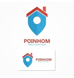 Logo combination of a place point and house vector