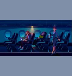 man sleep in airplane freelancer girl work laptop vector image