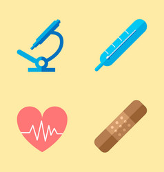 medical icons microscope icons cardiogram of vector image