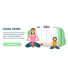 Mother and daughter involved sport engaged in yoga vector