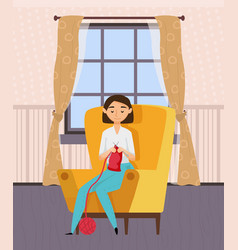 Needlework hobwoman crocheting home vector