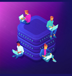 network community isometric vector image