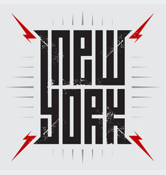 new york - poster with red lightnings tee shirt vector image