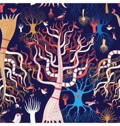 Pattern beautiful magical trees vector