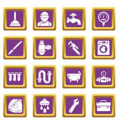Plumber symbols icons set purple square vector