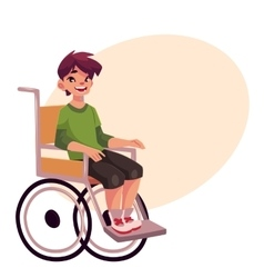 Portrait of happy school kid sitting in wheelchair vector