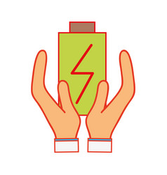 Power electric battery charger in the hands vector