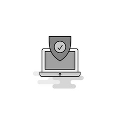 protected laptop web icon flat line filled gray vector image