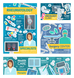 Rheumatology oncology and surgery doctors vector