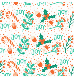 seamless christmas pattern hand drawn vector image