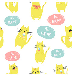 seamless pattern with funny eating egoist cat vector image
