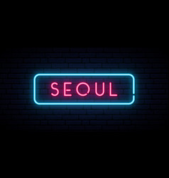 seoul neon sign bright light signboard banner vector image