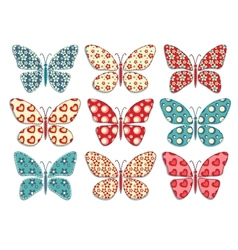Set of patchwork butterflys 1 vector image