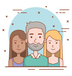 set of people human man and women faces portraits vector image