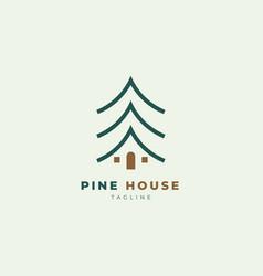 Simple clean pine house logo design template vector