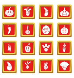 smiling vegetables icons set red vector image
