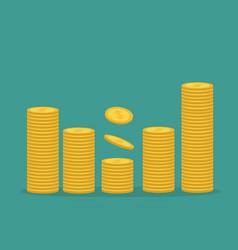 stacks gold coin icon diagram shape cash money vector image