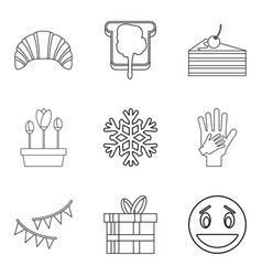 Stuffed cake icons set outline style vector