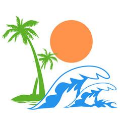 Sunny palm tree wave logo vector