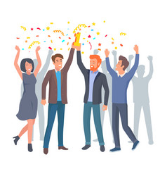 Team colleagues celebrate win in startup vector
