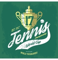 Tennis cup or trophy and flying ball banner vector