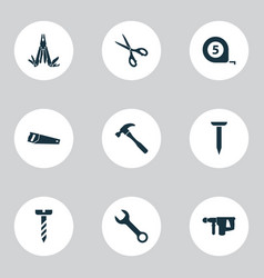 tools icons set with wrench saw hammer and other vector image