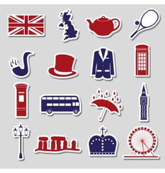 United Kingdom country theme symbols stickers vector