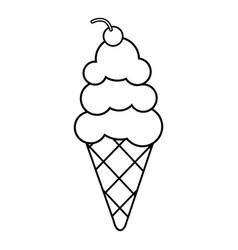 vanilla ice cream icon outline line style vector image