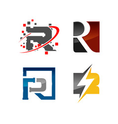 various initial letter r corporate template logo vector image