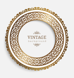 Vintage round frame with gold border pattern vector