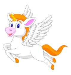 White unicorn horse cartoon vector image