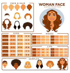 Woman face constructor skin haircut nose and eyes vector
