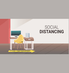 workplace desk with yellow arrow sign for social vector image