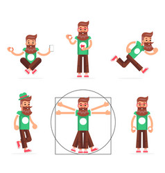 hipster geek stand run walk meditate new vector image